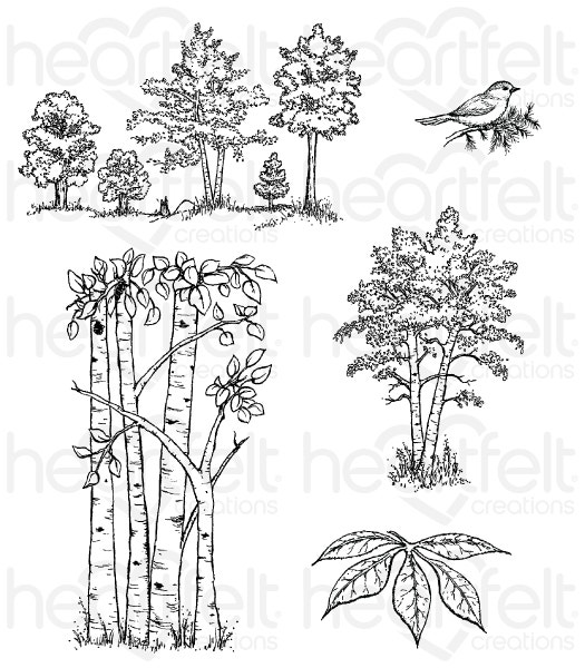 Woodsy Treescape Cling Stamp Set