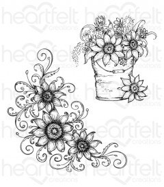 Sunflower Bouquet Cling Stamp Set