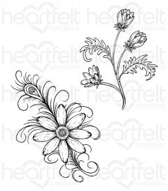 Feathered Daisy Cling Stamp Set