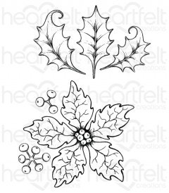 Large Sparkling Poinsettia Cling Stamp Set
