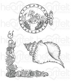 Coral Reef Collage Cling Stamp Set