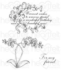 Botanic Orchid Wishes Cling Stamp Set