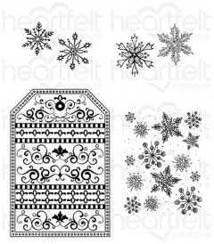 Snow Kissed Flakes and Tag Cling Stamp Set