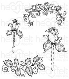 Blushing Rose Stem Cling Stamp Set