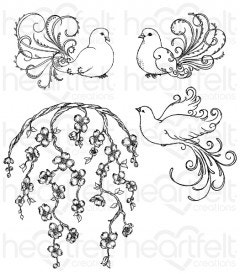 Flowering Dogwood & Doves Cling Stamp Set