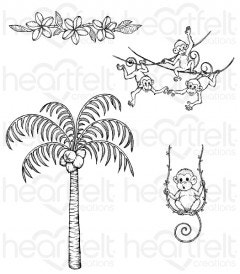 Palm Tree & Monkeys Cling Stamp Set