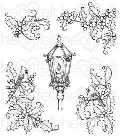 Festive Holly & Cardinals Cling Stamp Set
