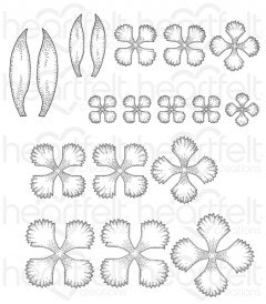 Small Camelia Carnation Cling Stamp Set