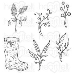 Rain Boots and Blossoms Cling Stamp Set
