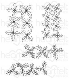 Poinsettia & Holly Clusters Cling Stamp Set