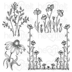 Garden's Edge Coneflower Cling Stamp Set