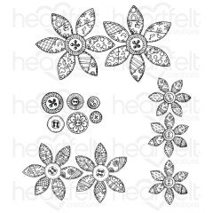 Buttons and Blooms Cling Stamp Set