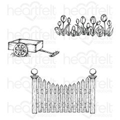 Tulip Cart & Fence Cling Stamp Set