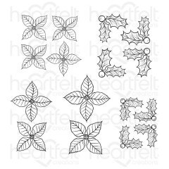 Christmas Poinsettia & Holly Cling Stamp Set