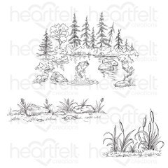 Create a 'scape Trout Lake Cling Stamp Set