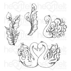 Feathery Swan Cling Stamp Set