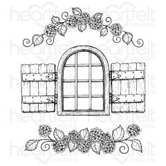 Cottage Window & Hydrangea Cling Stamp Set