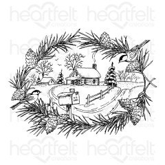 Snowy Pines Cabin Cling Stamp Set