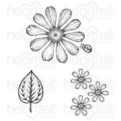 Large Garden Zinnia Cling Stamp Set