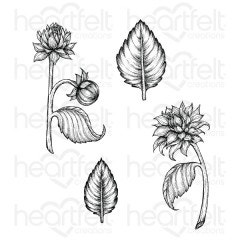Dahlia and Leaves Cling Stamp Set