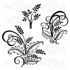 Holly Berry Spray Cling Stamp Set