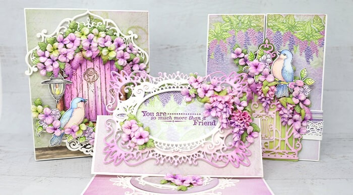 How to Create Foldout & Easel Cards with Cascading Wisterias