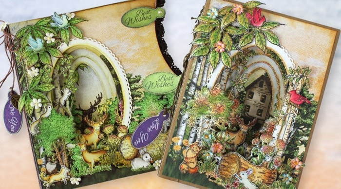 Create a Magical Woodland Garden Scene Card and Mini Album Class