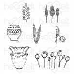 Tulip Vase & Fillers Cling Stamp Set