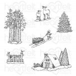 Woodsy Winterscapes Cling Stamp Set