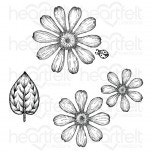 Small Garden Zinnia Cling Stamp Set