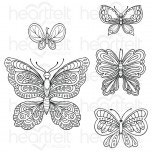 Small Floral Butterfly Cling Stamp Set
