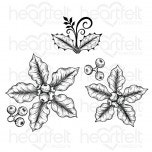 Small Festive Poinsettia Cling Stamp Set