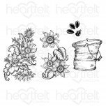 Rustic Sunflower Bucket Cling Stamp Set