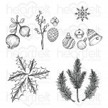 Winter Wreath Accents Cling Stamp Set