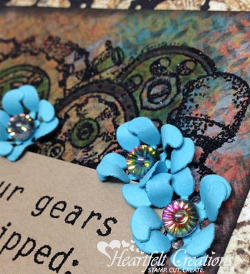 Cogs And Gears Blue Flowers