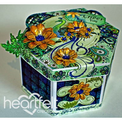 Peacock Daisies Six Sided Box