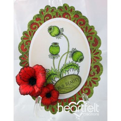 Blazing Poppy Stems Oval