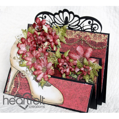 Flip Fold Shoe With Red Blooms
