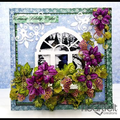 Poinsettias And Grapes Window Scene