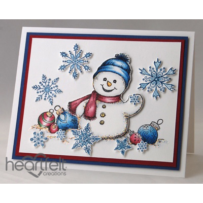 Waving Snowman And Snowflakes