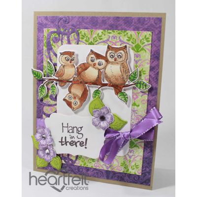 Hang In There Owls And Purple Blooms