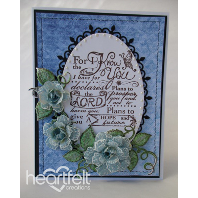 Blue Vellum Roses Oval