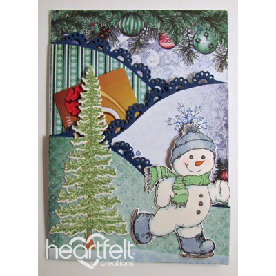 Skating Snowman Pocket Gift Card