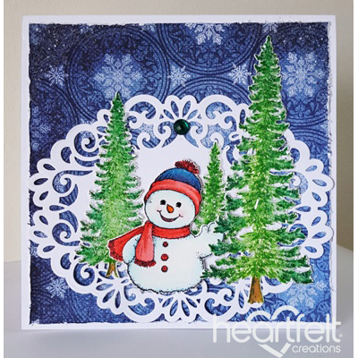 Snowman Waving Tree Scene