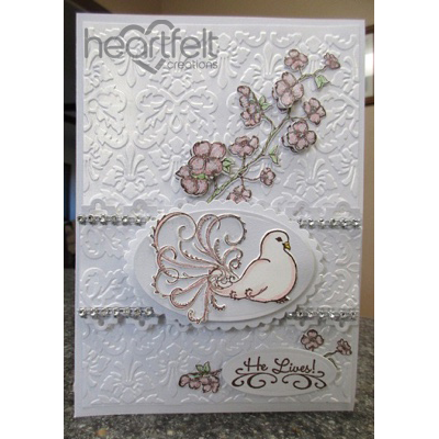 White Embossed Flourished Dove