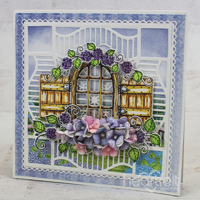 Hydrangea Window Easel Card