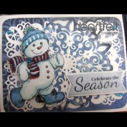 Blue Skating Snowman And Snowflake