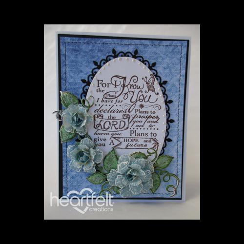 Blue Vellum Roses Oval