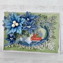 Elegant Blue Poinsettias