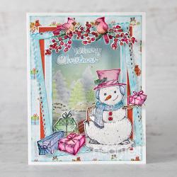Festive Snowman & Cardinals